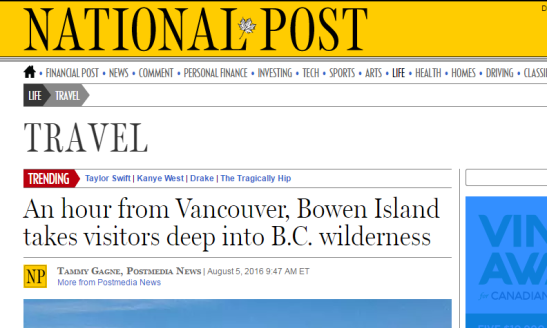 An hour from Vancouver Bowen Island takes visitors deep into B.C. wilderness National Post